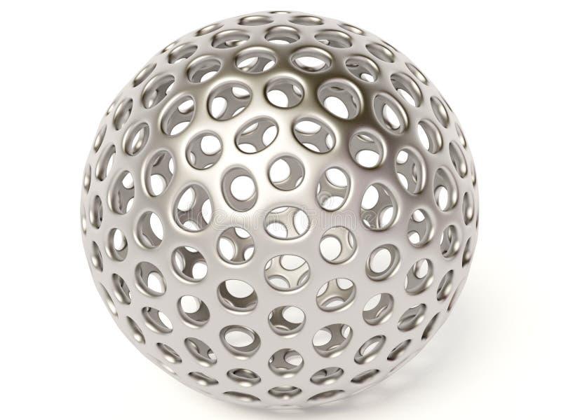 Ball. Chrome ball on white background stock illustration