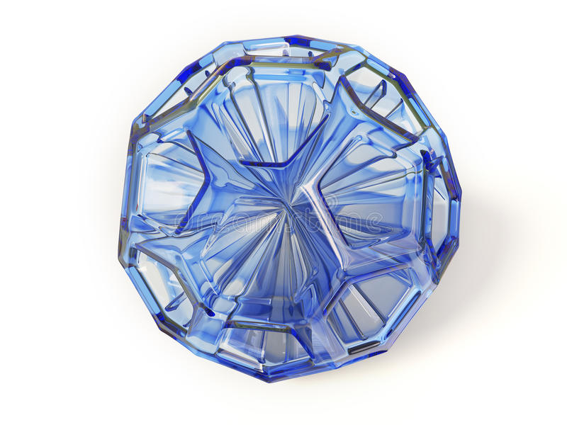 Ball. Blue transparet diamond on white background isolated royalty free illustration
