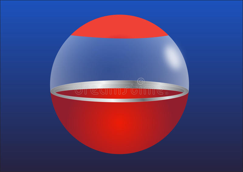 Ball. Red ball on the tops with glass around vector illustration