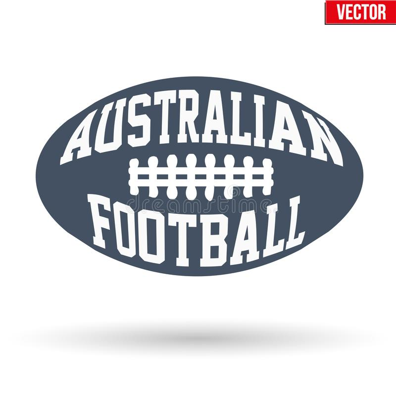 Ball of Australian rules football with typography stock illustration