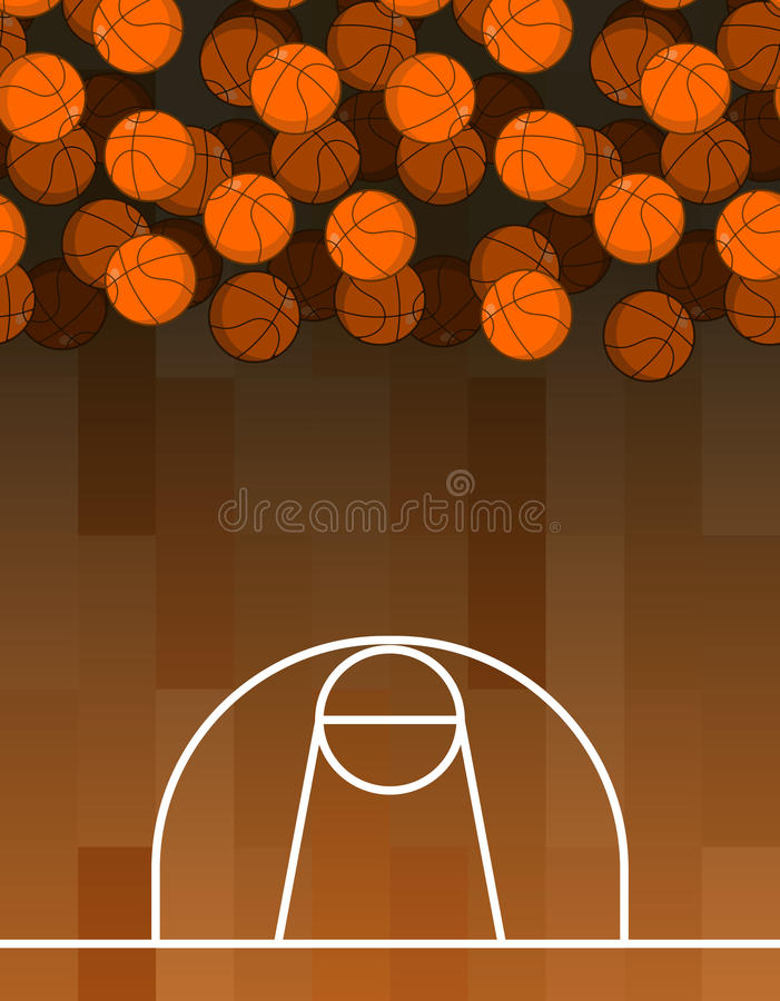 Ball and basketball court. Lot of balls. Basketball background. Sports accessories stock illustration