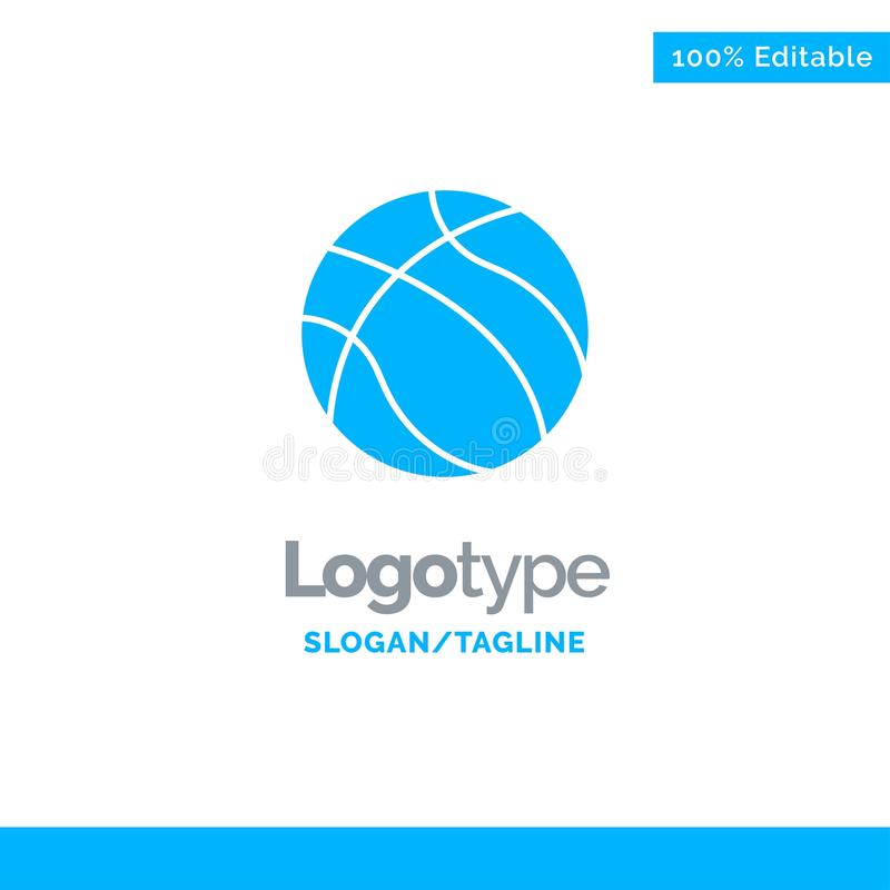 Ball, Basketball, Nba, Sport blauer fester Logo Template Platz f?r Tagline stock abbildung