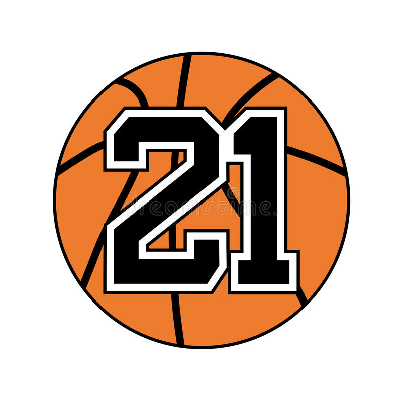 Ball Of Basketball Symbol With Number 21 Stock Vector Illustration