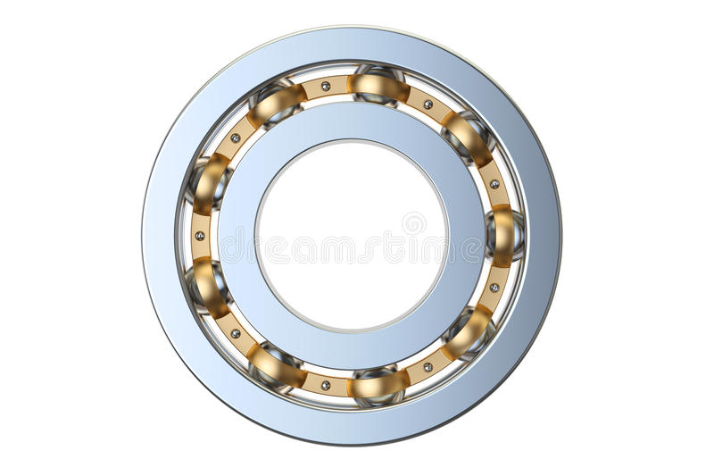 Ball bearing side view, 3D rendering. On white background stock illustration