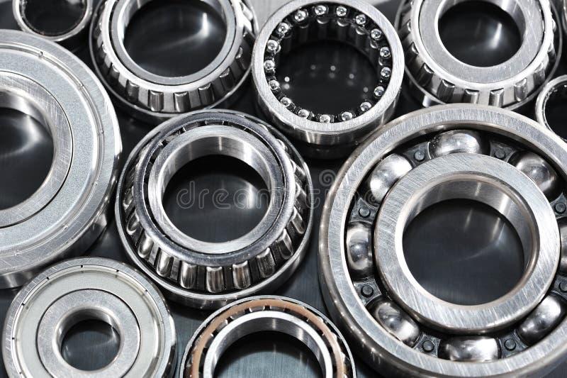 Ball-bearings. Closeup view of several ball-bearings royalty free stock photos