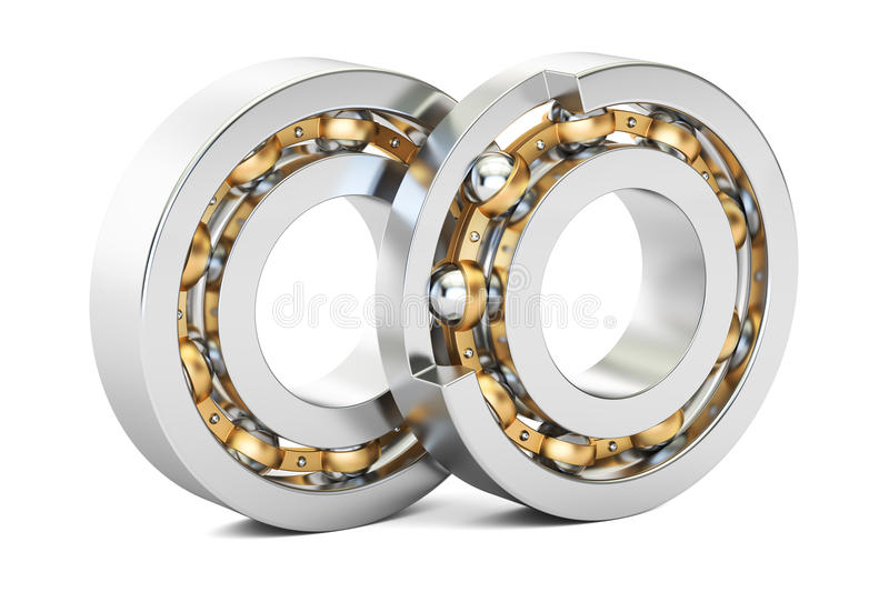 Ball bearings, cutaway. 3D rendering. On white background royalty free illustration