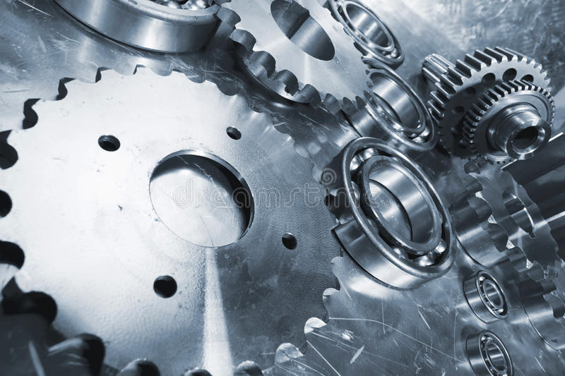 Ball-bearings and gear parts. Titanium bearings and gears, aerospace industrial parts royalty free stock photos