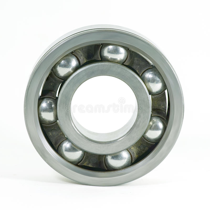 Ball bearings isolated on white background stock photo