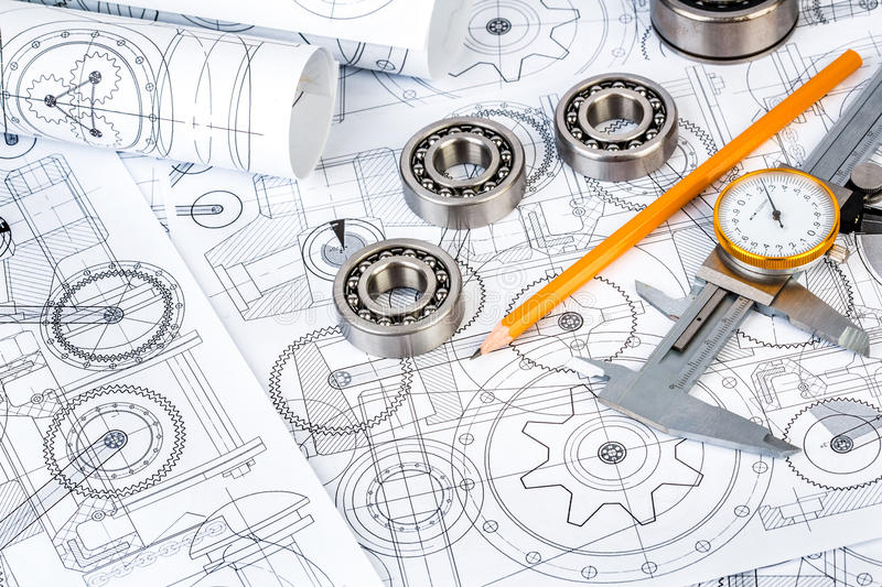 Ball bearings on technical drawing royalty free stock photo