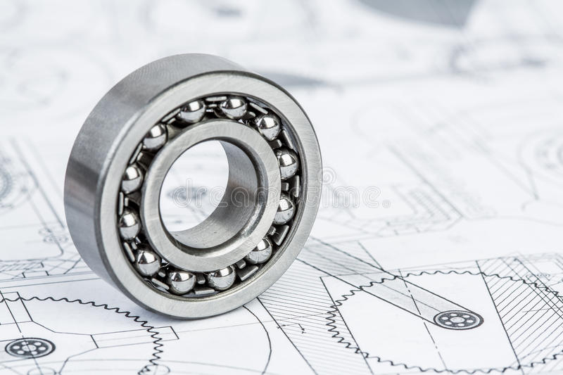 Ball bearings on technical drawing royalty free stock photos
