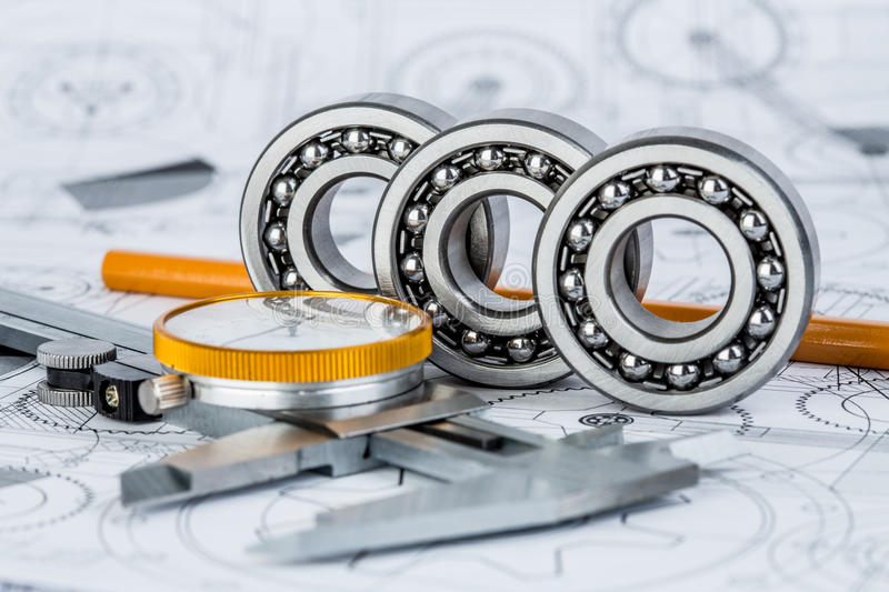 Ball bearings on technical drawing. Technical drawings with the Ball bearings stock photography
