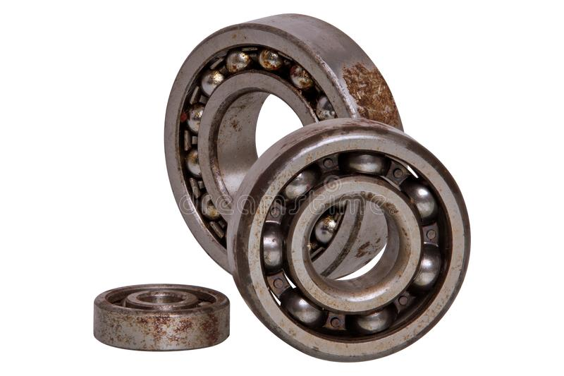 Ball bearings on a white background stock images