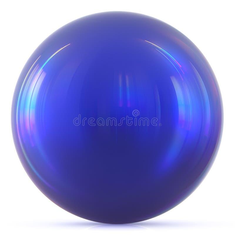 Ball blue sphere round button basic circle geometric shape. Solid figure simple minimalistic atom element single drop shiny glossy sparkling object blank stock illustration