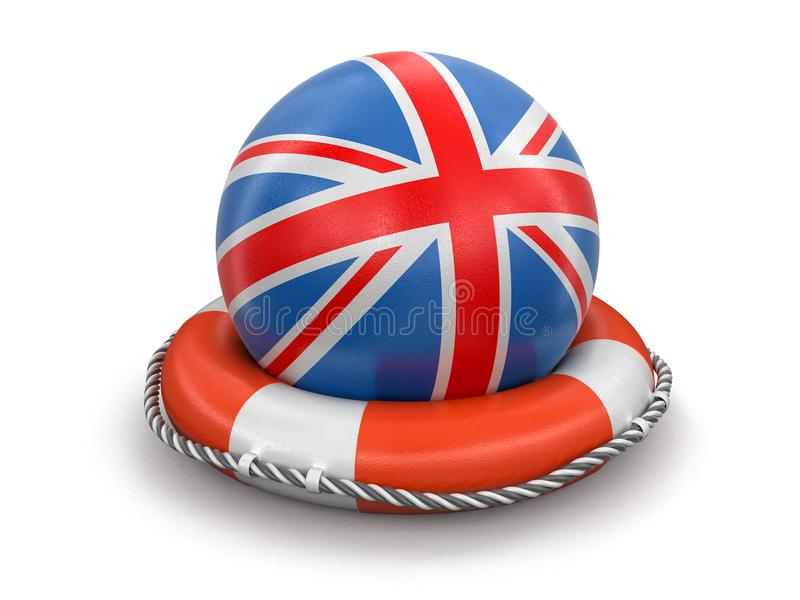 Ball with British flag on lifebuoy. Image with clipping path vector illustration