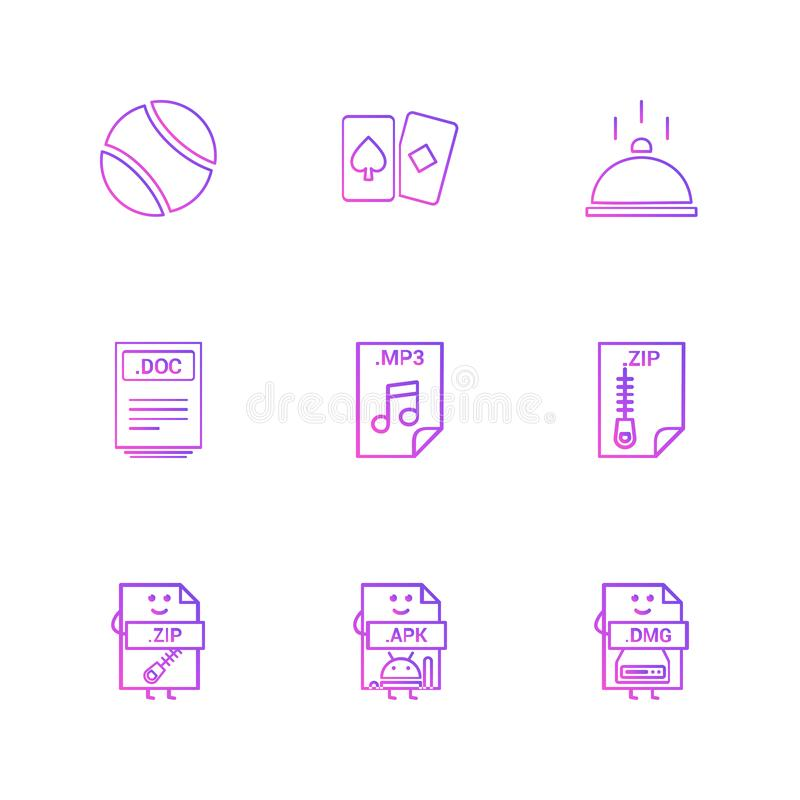 Ball , card , dish , doc , word file , zip , compressed file , m. P3 , audio file , apk , android file , dmg , apple file , icon, vector, design, flat stock illustration
