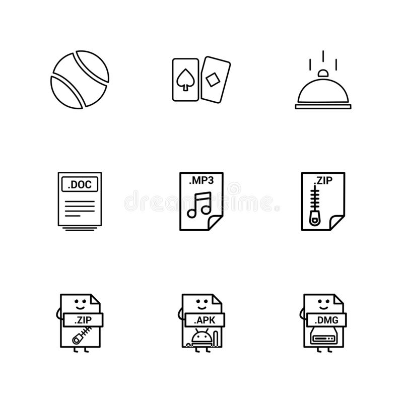 Ball , card , dish , doc , word file , zip , compressed file , m. P3 , audio file , apk , android file , dmg , apple file , icon, vector, design, flat royalty free illustration
