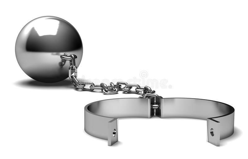 Ball and chain. Isolated on white background stock illustration