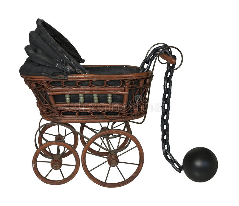 Ball and Chain with Bassinet. Large metal ball and chain with Bassinet - path included stock photography