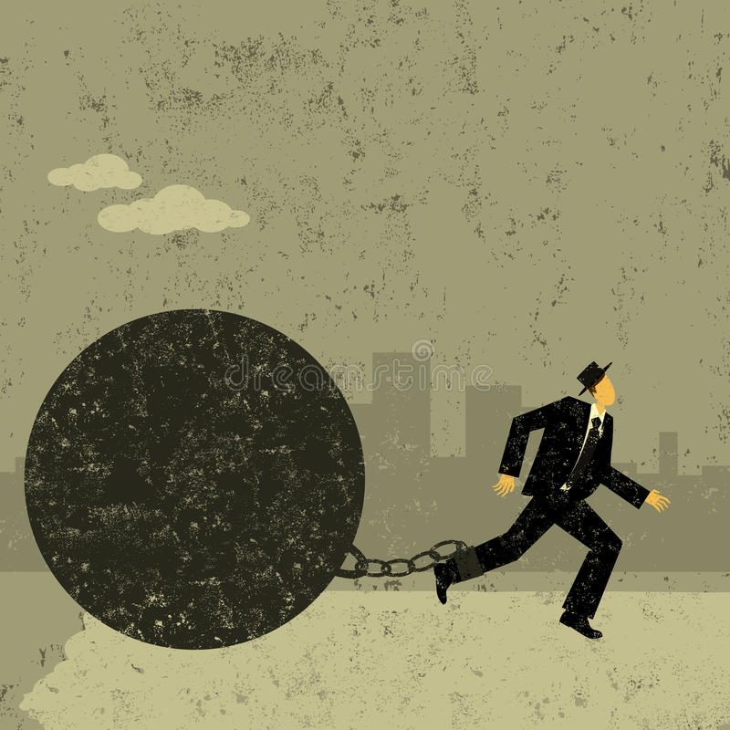 Ball and Chain. A businessman trying to escape from his ball and chain royalty free illustration