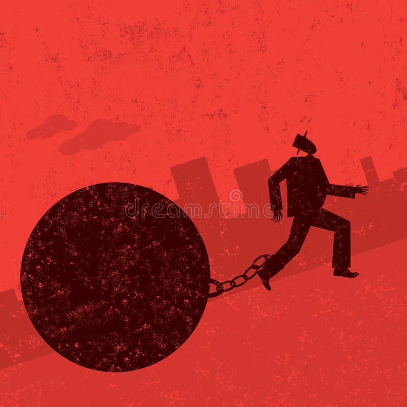Ball and Chain. A businessman trying to escape from his ball and chain. The man with ball & chain and the background are on separately labeled layers royalty free illustration