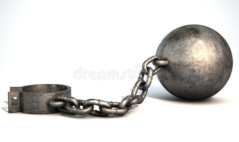 Ball And Chain Isolated stock illustration
