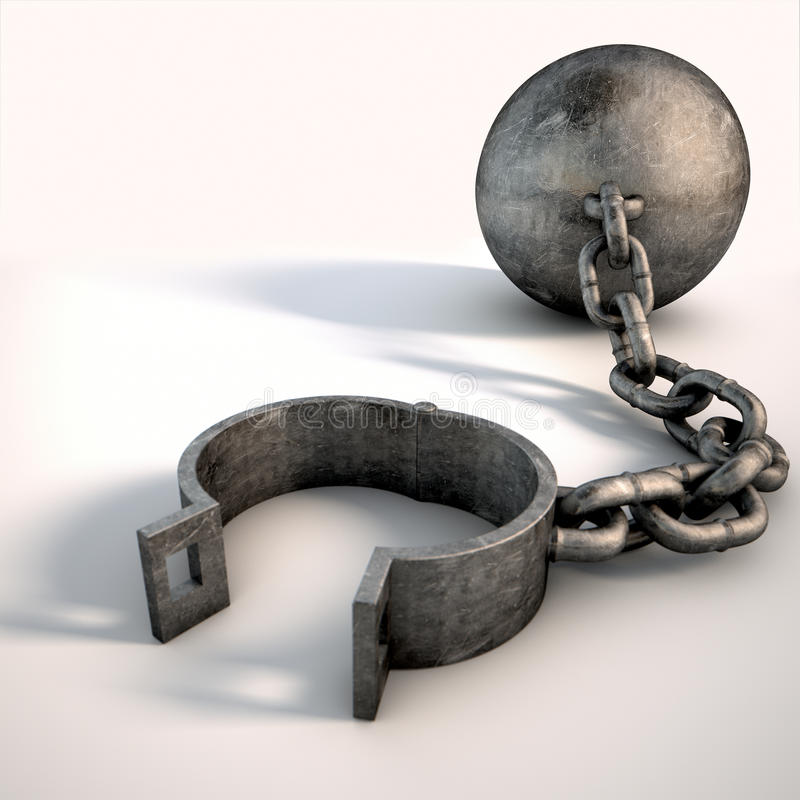 Ball And Chain Isolated royalty free illustration