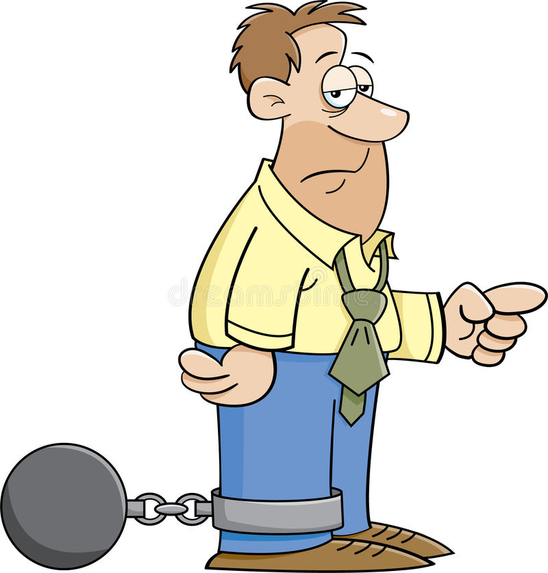 Ball and chain man stock illustration