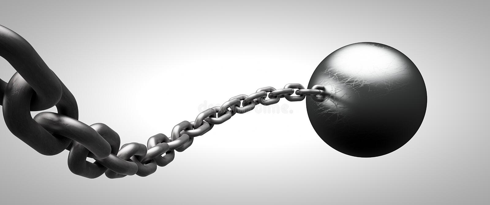 Ball and chain stock images