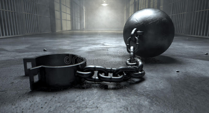 Ball And Chain In Prison stock photography