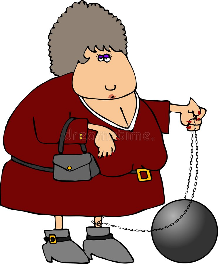 Ball & Chain Woman Stock Photos
