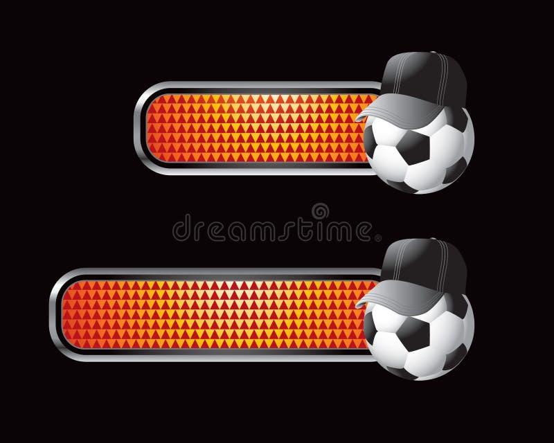 ball checkered orange referee soccer tabs иллюстрация штока