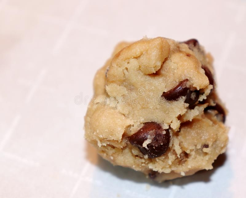 Ball of chocolate chip cookie dough royalty free stock photo