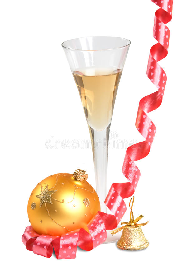 Ball christmas and glass of wine. Isolated on white background stock photo