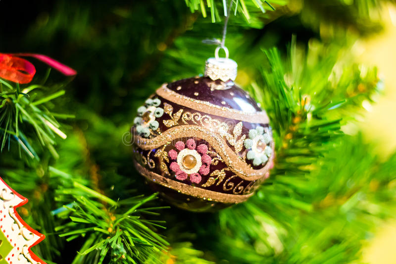 Ball on the Christmas tree royalty free stock photography