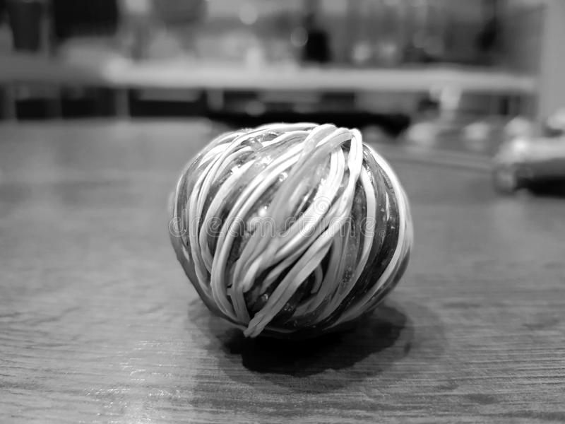 Ball of colored rubber bands royalty free stock images