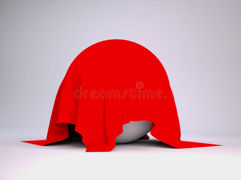 Ball covered with red cloth. Render studio stock illustration