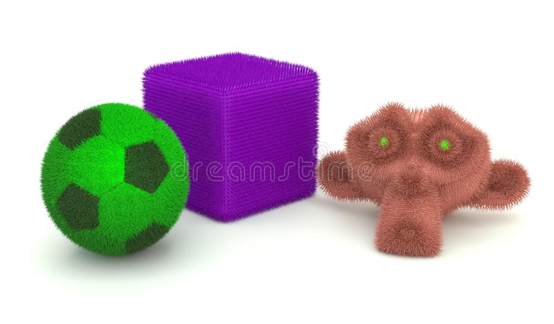 The ball and cube. With furry monkey royalty free stock photography