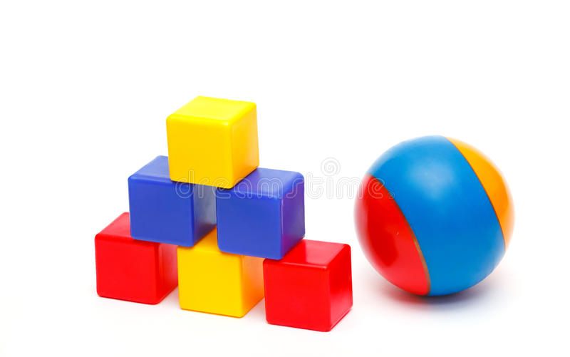 Ball And Tower Of Cubes Royalty Free Stock Image