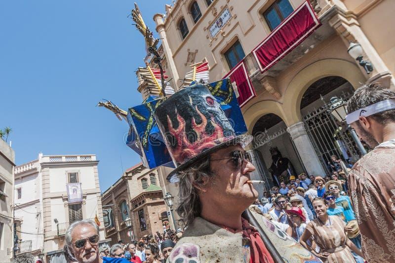 Ball de Diables à commandant de Festa dans Sitges, Espagne image stock