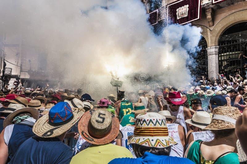 Ball de Diables à commandant de Festa dans Sitges, Espagne image libre de droits