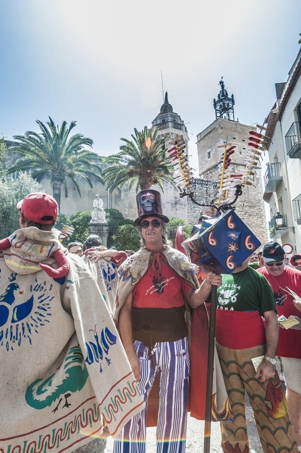 Ball de Diables à commandant de Festa dans Sitges, Espagne photographie stock libre de droits