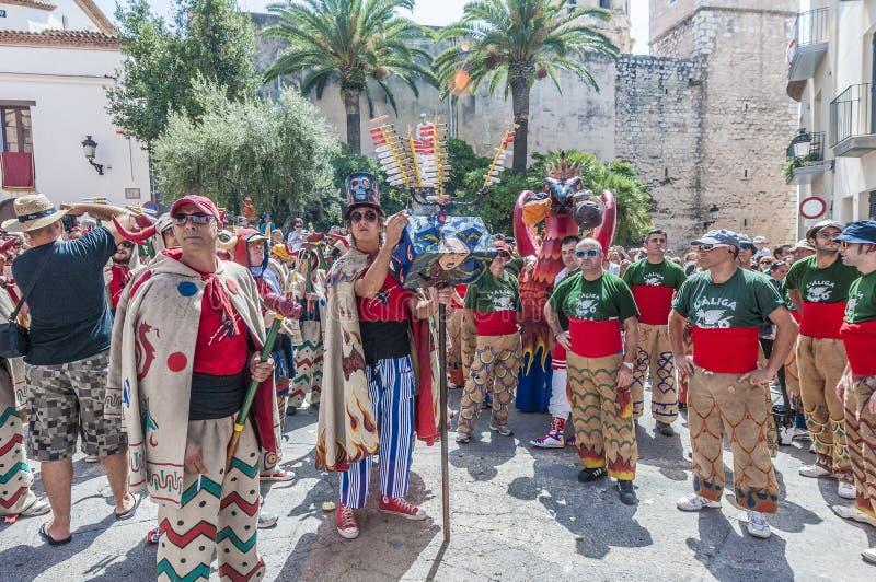 Ball de Diables au commandant de Festa dans Sitges, Espagne photo stock