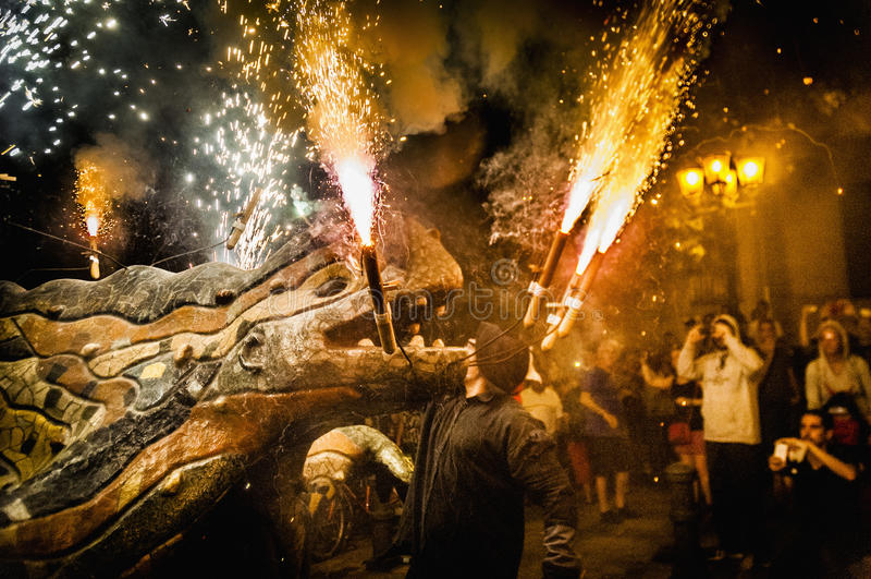 Ball de Diables on Correfoc in Barcelona stock image