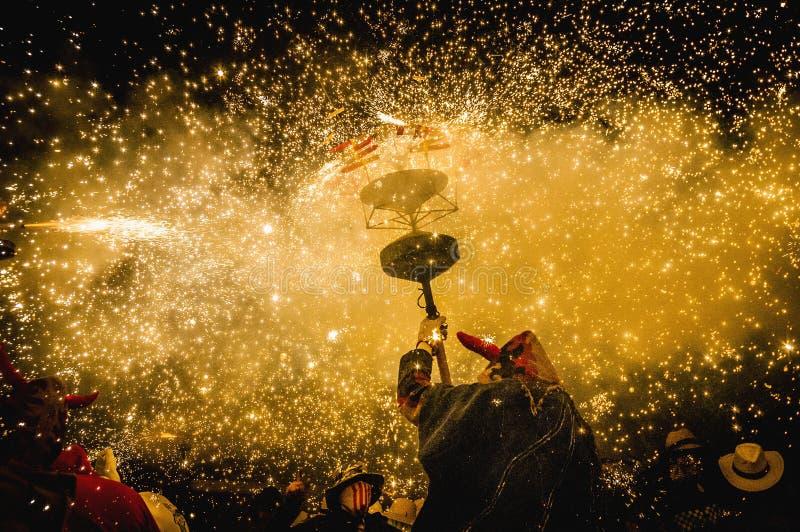 Ball de Diables on Correfoc in Cervera royalty free stock photos