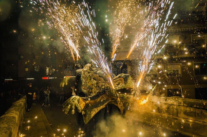 Ball de Diables on Correfoc in El Vendrell royalty free stock photos