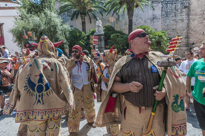 Ball de Diables at Festa Major in Sitges, Spain stock images