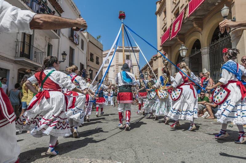 Ball de Gitanes à commandant de Festa dans Sitges, Espagne images stock