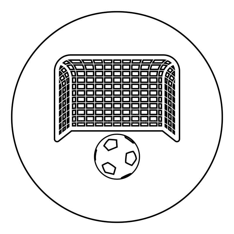 Ball de soccer et barrière Concept de pénalité OEuvre de but Grande icône de poteau de football dans le contour rond vectoriel de illustration de vecteur