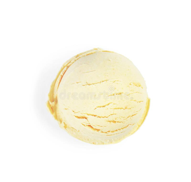 Ball of delicious vanilla ice cream on white background. Top view stock photography