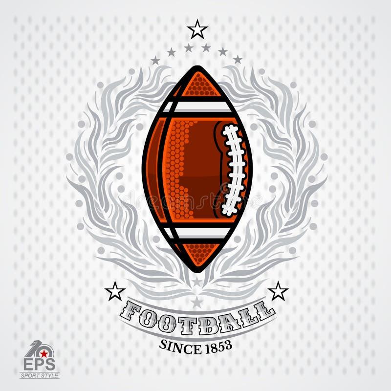 Ball des amerikanischen Fußballs in der Mitte des silbernen Kranzes auf hellem Hintergrund Illustration Abenteuersport-Entwurfsik lizenzfreie abbildung